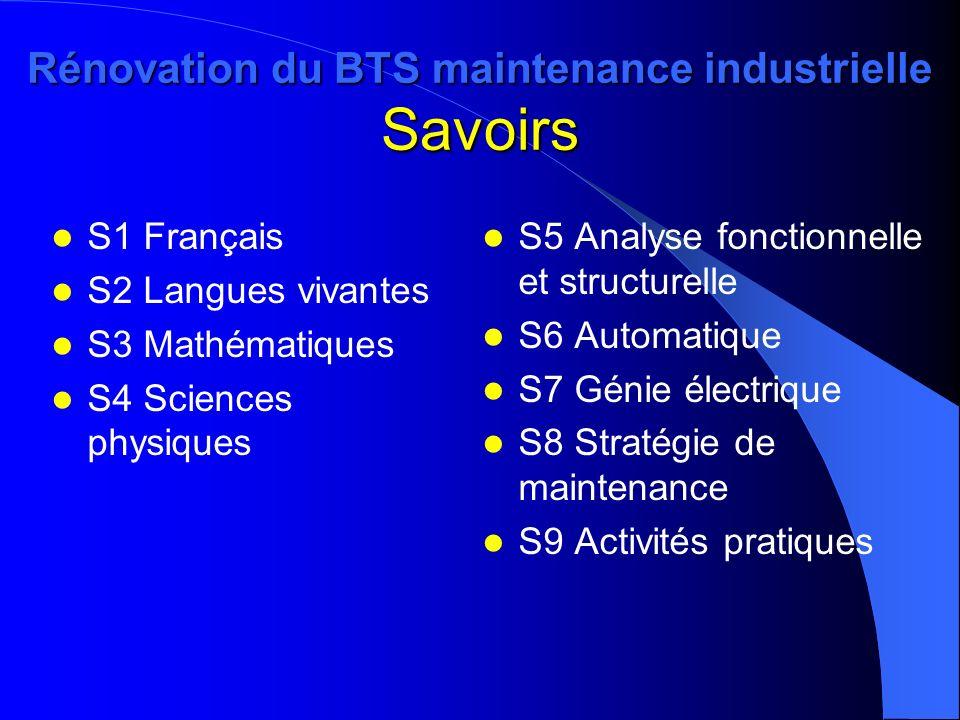 Rénovation du BTS maintenance industrielle Savoirs S1 Français S2 Langues vivantes S3 Mathématiques S4 Sciences physiques S5 Analyse fonctionnelle et