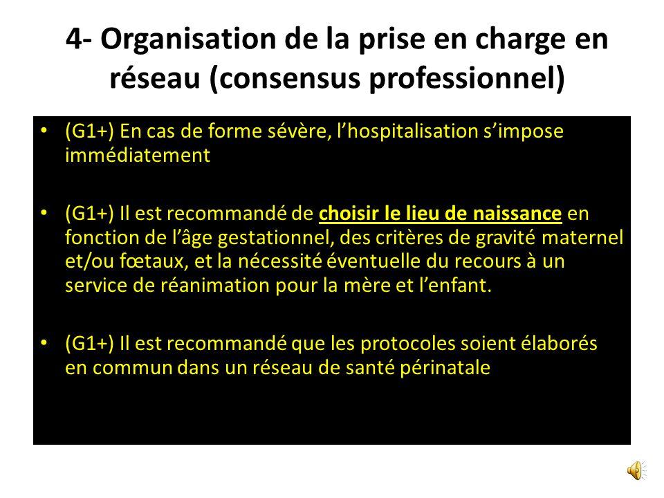 4- Organisation de la prise en charge en réseau (consensus professionnel) ( G2+) En cas de grossesse avec antécédents de PE, si le déroulement actuel