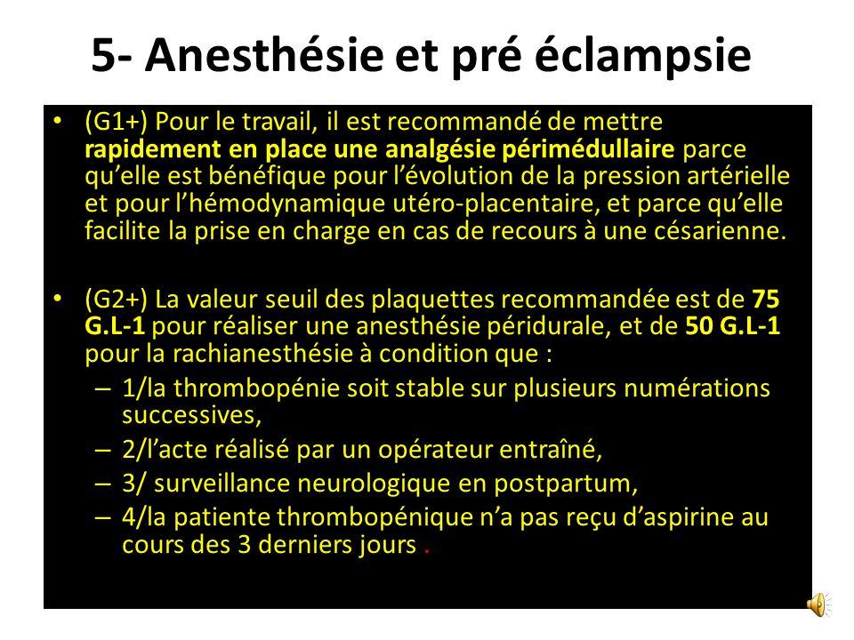 5- Anesthésie et pré éclampsie G1+) Une évaluation la plus précoce possible des patientes est recommandée en vue dune anesthésie (G1+) Il est recomman