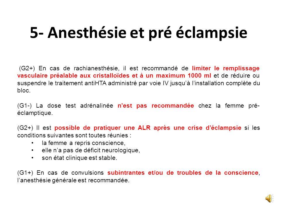 5- Anesthésie et pré éclampsie (G1+) Pour le travail, il est recommandé de mettre rapidement en place une analgésie périmédullaire parce quelle est bé