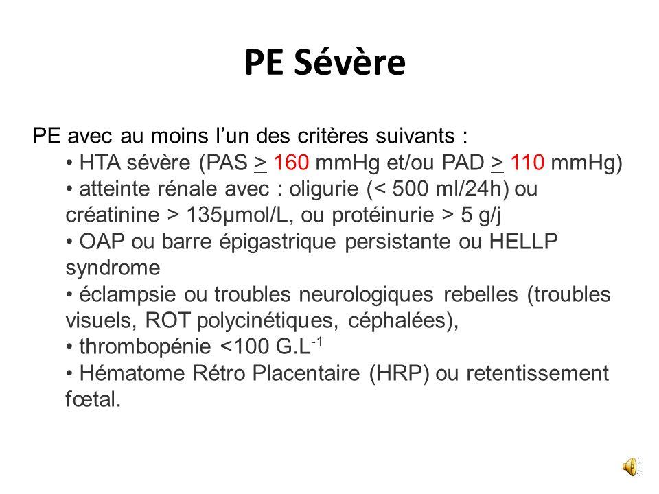 1- Définitions 1.HTA gravidique (HTG) : PAS >140 mm Hg et/ou PAD >90 mm Hg, survenant après 20 SA et disparaissant avant la fin de la 6ème semaine du