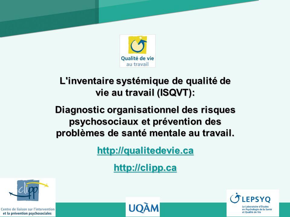 L'inventaire systémique de qualité de vie au travail (ISQVT): Diagnostic organisationnel des risques psychosociaux et prévention des problèmes de sant