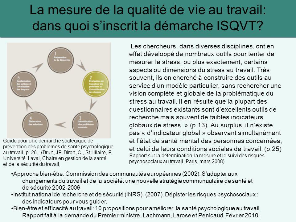 La mesure de la qualité de vie au travail: dans quoi sinscrit la démarche ISQVT? Guide pour une démarche stratégique de prévention des problèmes de sa