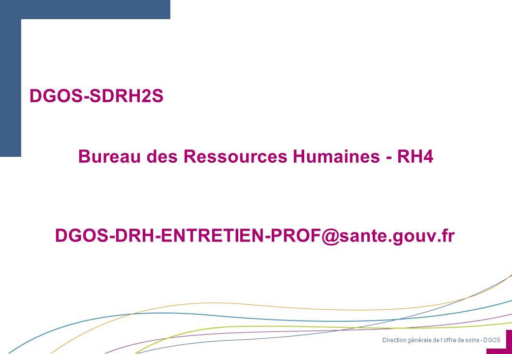 Direction générale de loffre de soins - DGOS DGOS-SDRH2S Bureau des Ressources Humaines - RH4 DGOS-DRH-ENTRETIEN-PROF@sante.gouv.fr