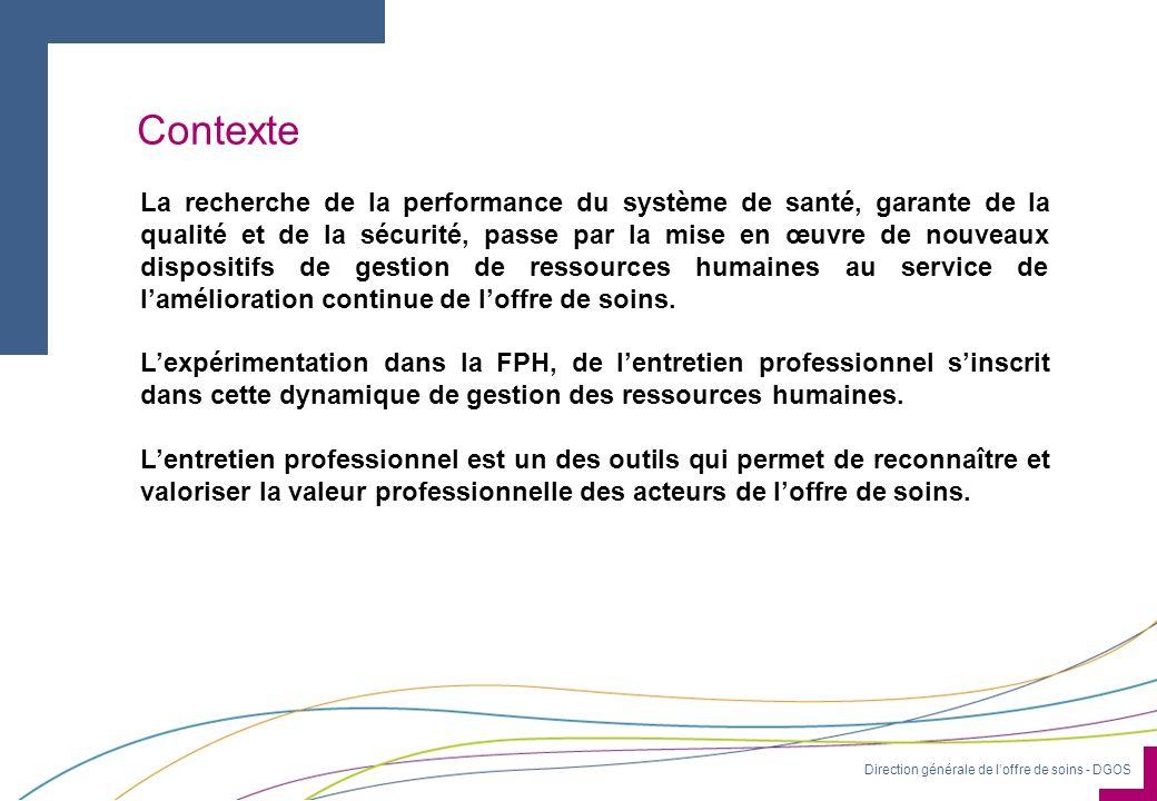 Direction générale de loffre de soins - DGOS Contexte La recherche de la performance du système de santé, garante de la qualité et de la sécurité, pas