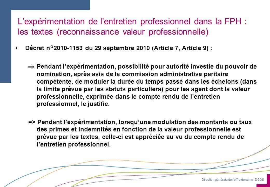 Direction générale de loffre de soins - DGOS Lexpérimentation de lentretien professionnel dans la FPH : les textes (reconnaissance valeur professionne