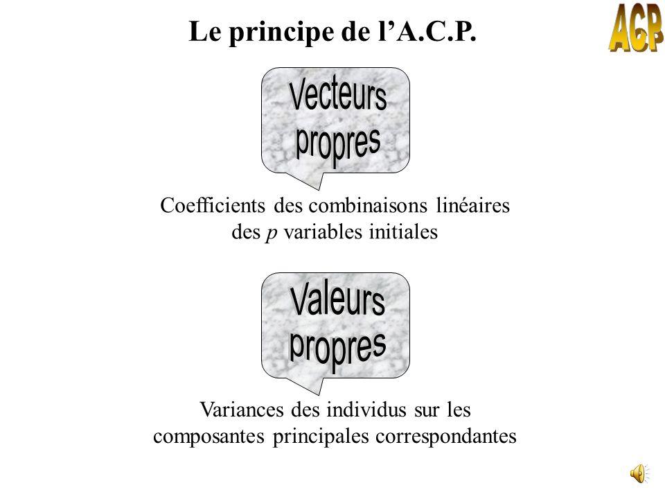 VariablesComposantes Objectif : Transformer p variables quantitatives initiales inter-corrélées en p nouvelles variables (composantes principales) non