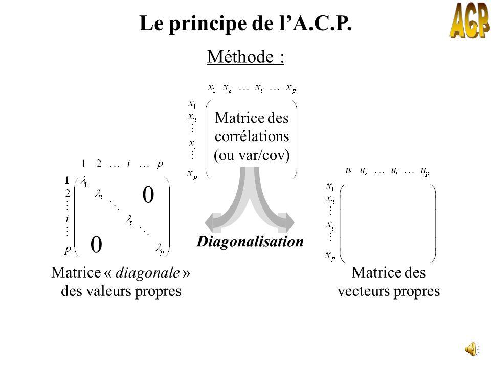 Coefficients des combinaisons linéaires des p variables initiales Variances des individus sur les composantes principales correspondantes Le principe