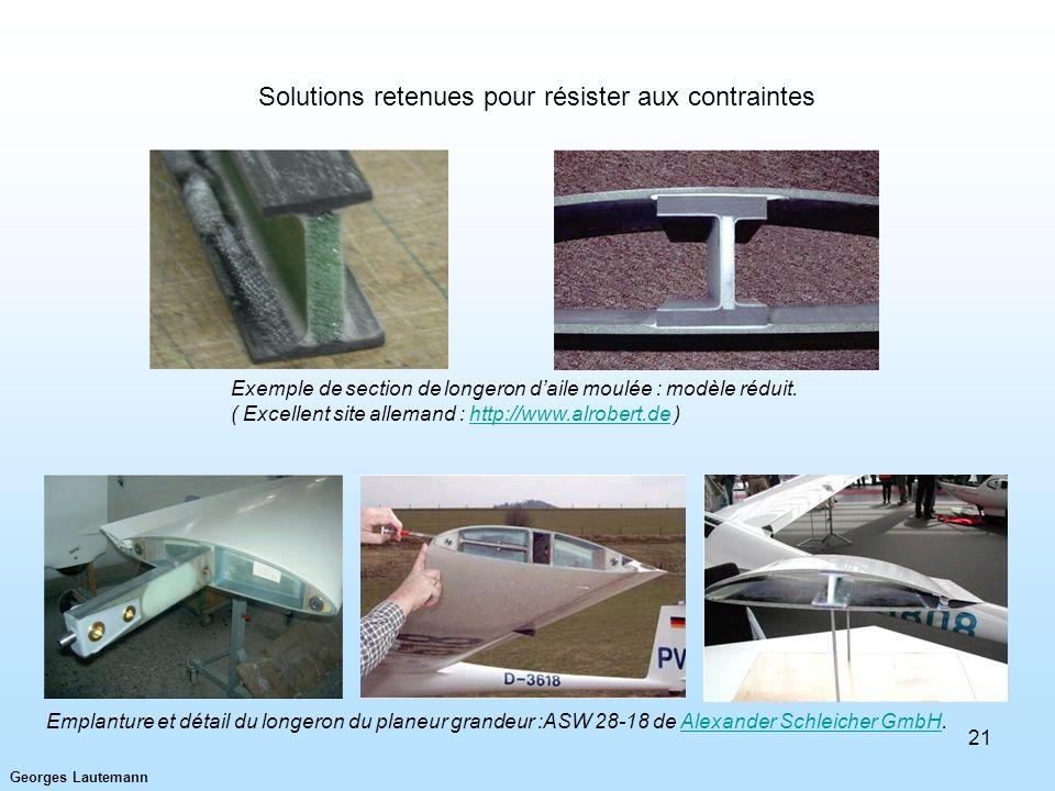 Georges Lautemann 21 Exemple de section de longeron daile moulée : modèle réduit. ( Excellent site allemand : http://www.alrobert.de )http://www.alrob