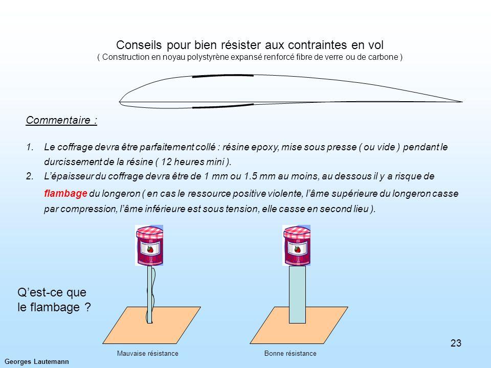 Georges Lautemann 23 Commentaire : 1.Le coffrage devra être parfaitement collé : résine epoxy, mise sous presse ( ou vide ) pendant le durcissement de