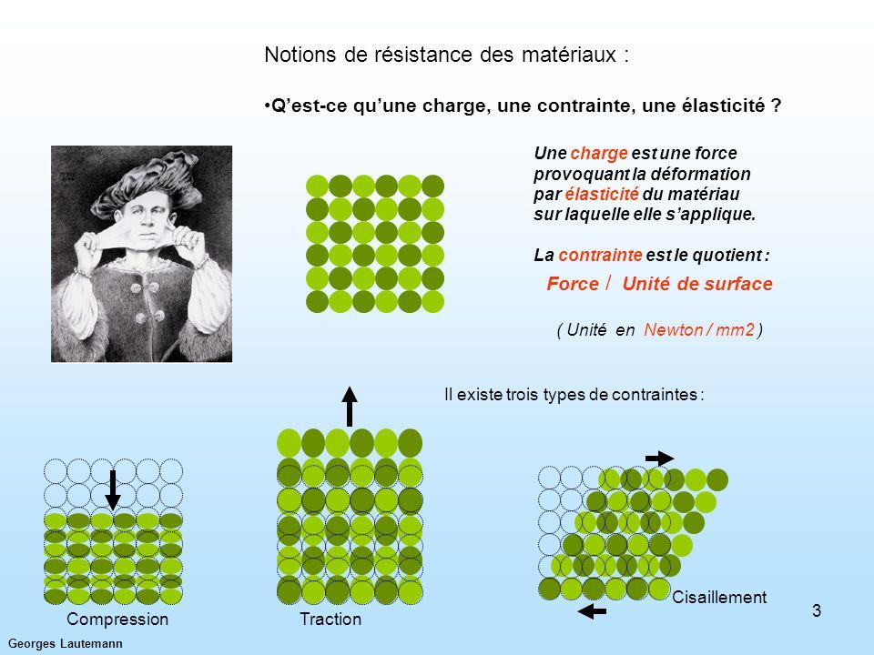 Georges Lautemann 3 Notions de résistance des matériaux : Qest-ce quune charge, une contrainte, une élasticité ? CompressionTraction Cisaillement Une