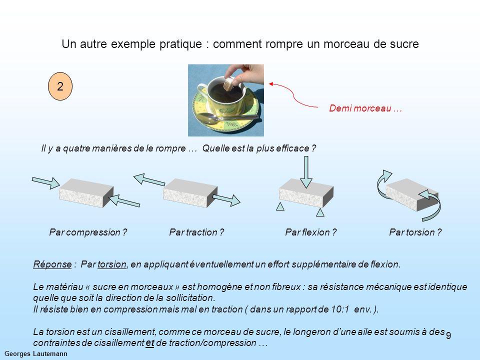 Georges Lautemann 9 Un autre exemple pratique : comment rompre un morceau de sucre Il y a quatre manières de le rompre … Quelle est la plus efficace ?
