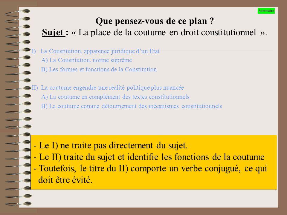 Que pensez-vous de ces intitulés ? Sujet : « La place de la coutume en droit constitutionnel » I) La place essentielle en droit constitutionnel II) La