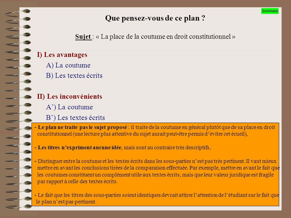 Que pensez-vous de ce plan ? Sujet : « La place de la coutume en droit constitutionnel ». I) La Constitution, apparence juridique dun Etat A) La Const