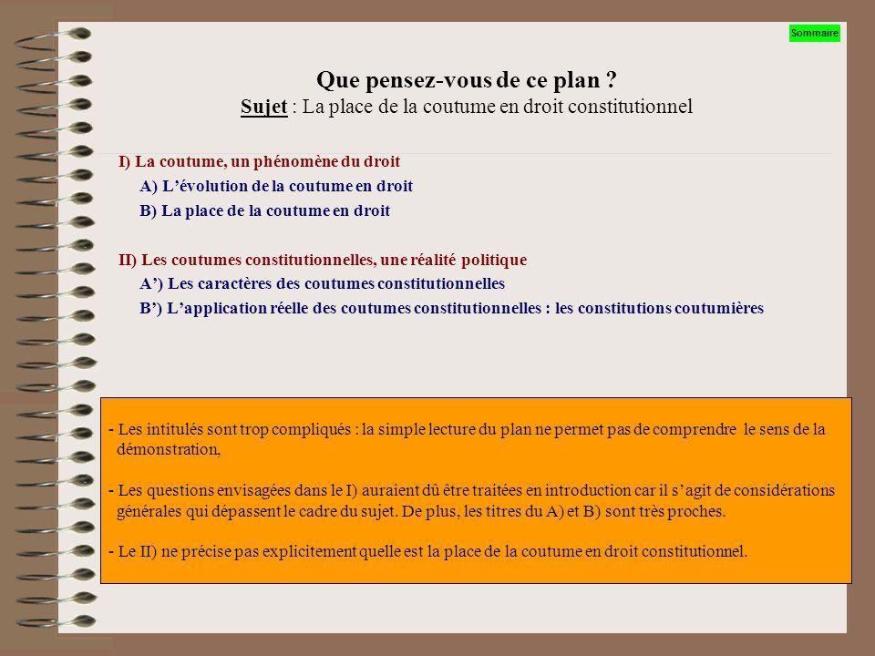 Que pensez-vous de ce plan ? Sujet : « La place de la coutume en droit constitutionnel » I) Les avantages A) La coutume B) Les textes écrits II) Les i