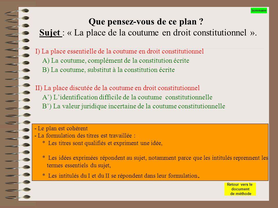 Que pensez-vous de ce plan ? Sujet : La place de la coutume en droit constitutionnel I) La coutume, un phénomène du droit A) Lévolution de la coutume
