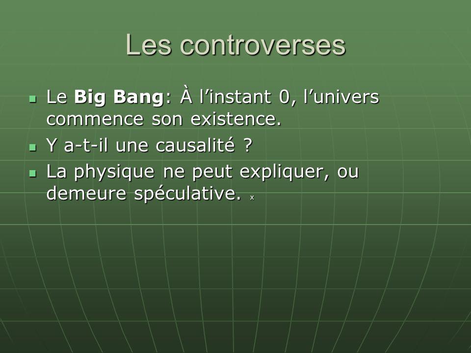 Les controverses Le Big Bang: À linstant 0, lunivers commence son existence. Le Big Bang: À linstant 0, lunivers commence son existence. Y a-t-il une