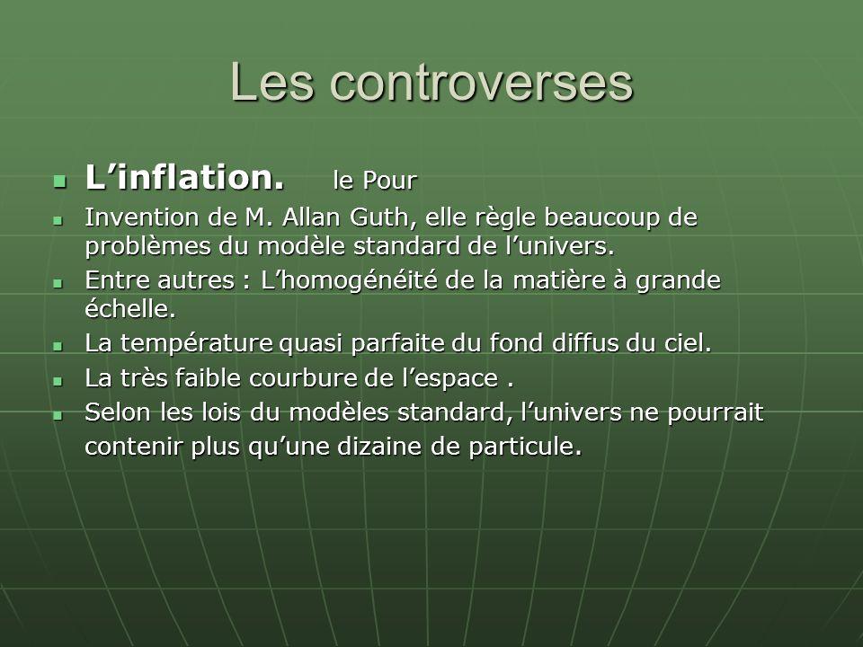 Les controverses Linflation. le Pour Linflation. le Pour Invention de M. Allan Guth, elle règle beaucoup de problèmes du modèle standard de lunivers.