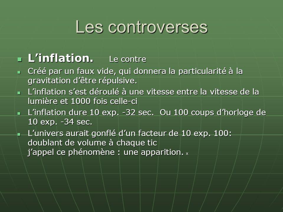 Les controverses Linflation. Le contre Linflation. Le contre Créé par un faux vide, qui donnera la particularité à la gravitation dêtre répulsive. Cré