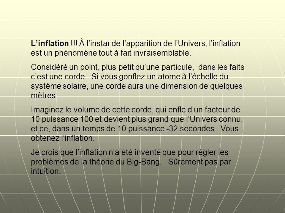 Linflation !!! À linstar de lapparition de lUnivers, linflation est un phénomène tout à fait invraisemblable. Considéré un point, plus petit quune par