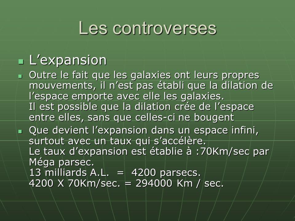 Les controverses Lexpansion Lexpansion Outre le fait que les galaxies ont leurs propres mouvements, il nest pas établi que la dilation de lespace emporte avec elle les galaxies.