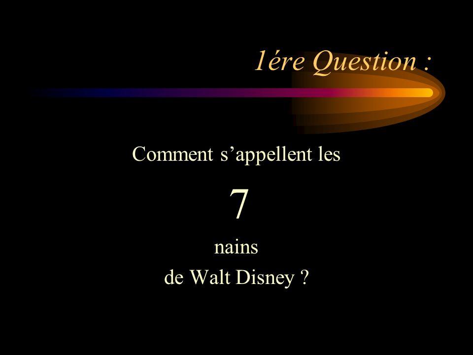1ére Question : Comment sappellent les 7 nains de Walt Disney ?