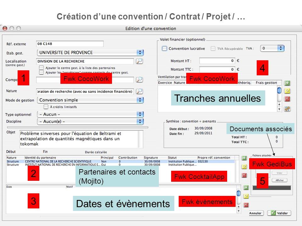 Création dune convention / Contrat / Projet / … Dates et évènements Partenaires et contacts (Mojito) Tranches annuelles Documents associés 1 2 3 4 5 F