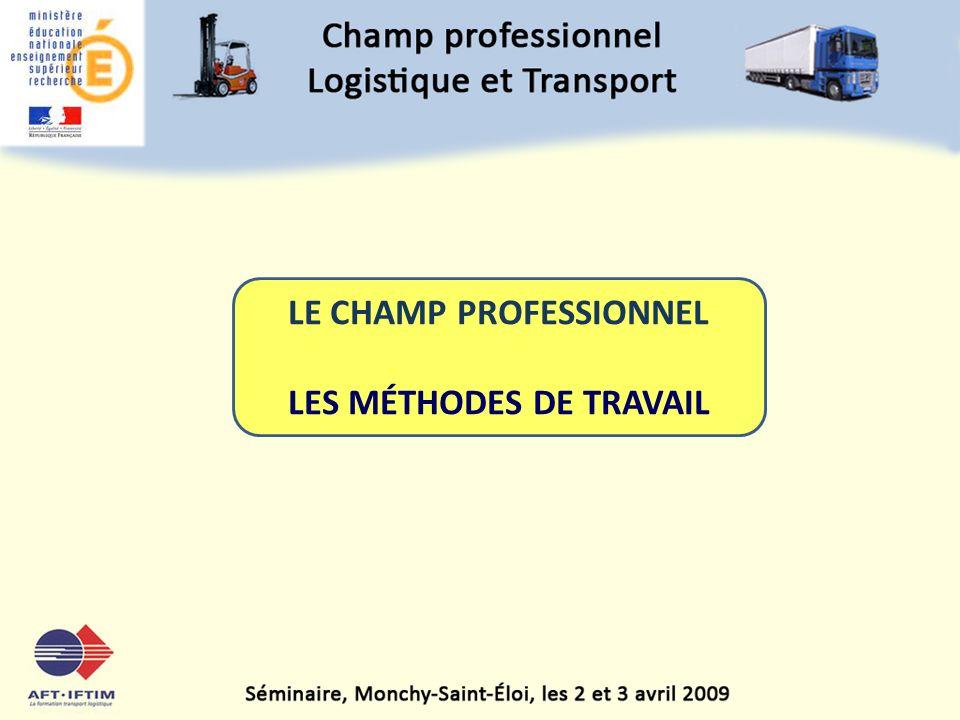 1 LE CHAMP PROFESSIONNEL LES MÉTHODES DE TRAVAIL