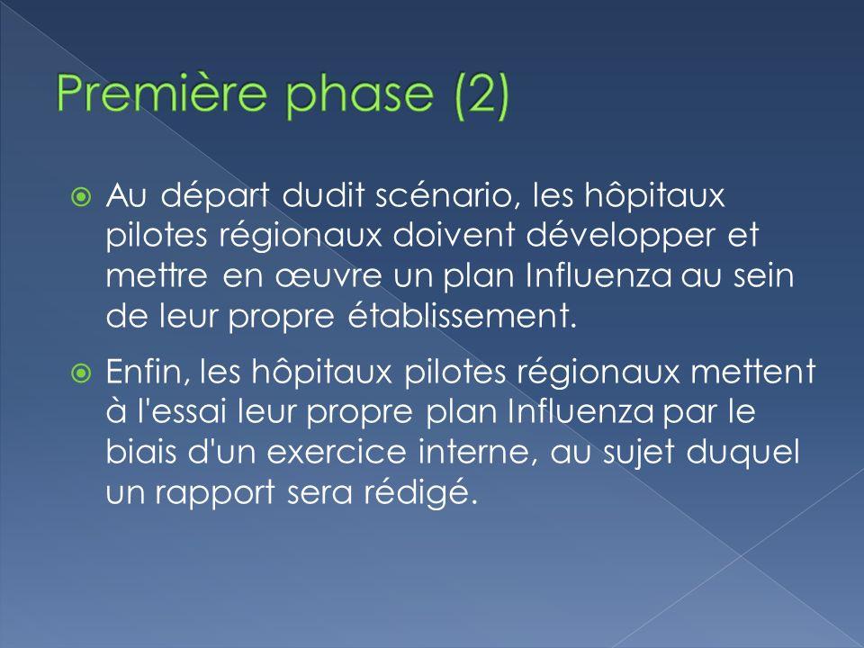 Au départ dudit scénario, les hôpitaux pilotes régionaux doivent développer et mettre en œuvre un plan Influenza au sein de leur propre établissement.