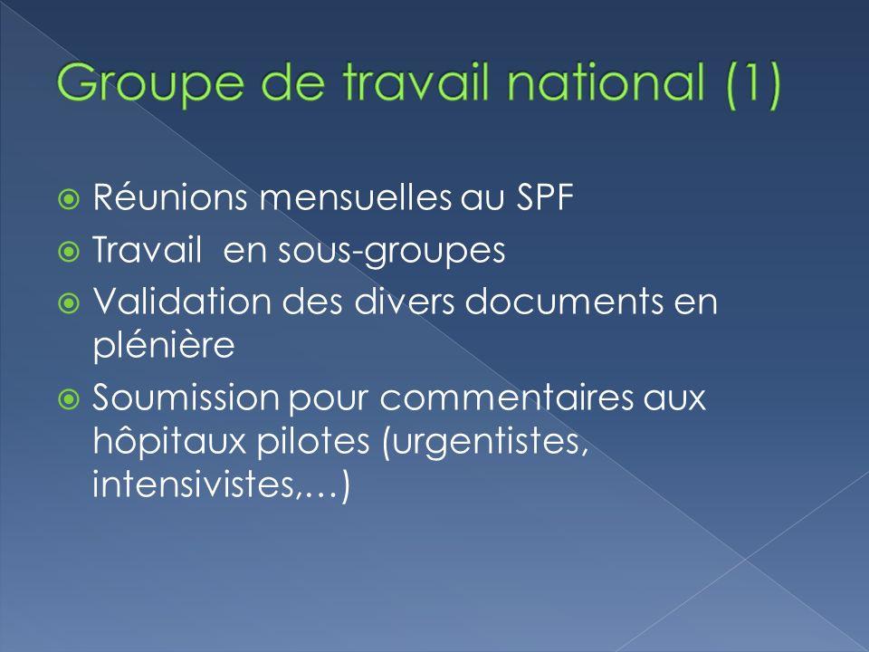 Réunions mensuelles au SPF Travail en sous-groupes Validation des divers documents en plénière Soumission pour commentaires aux hôpitaux pilotes (urgentistes, intensivistes,…)