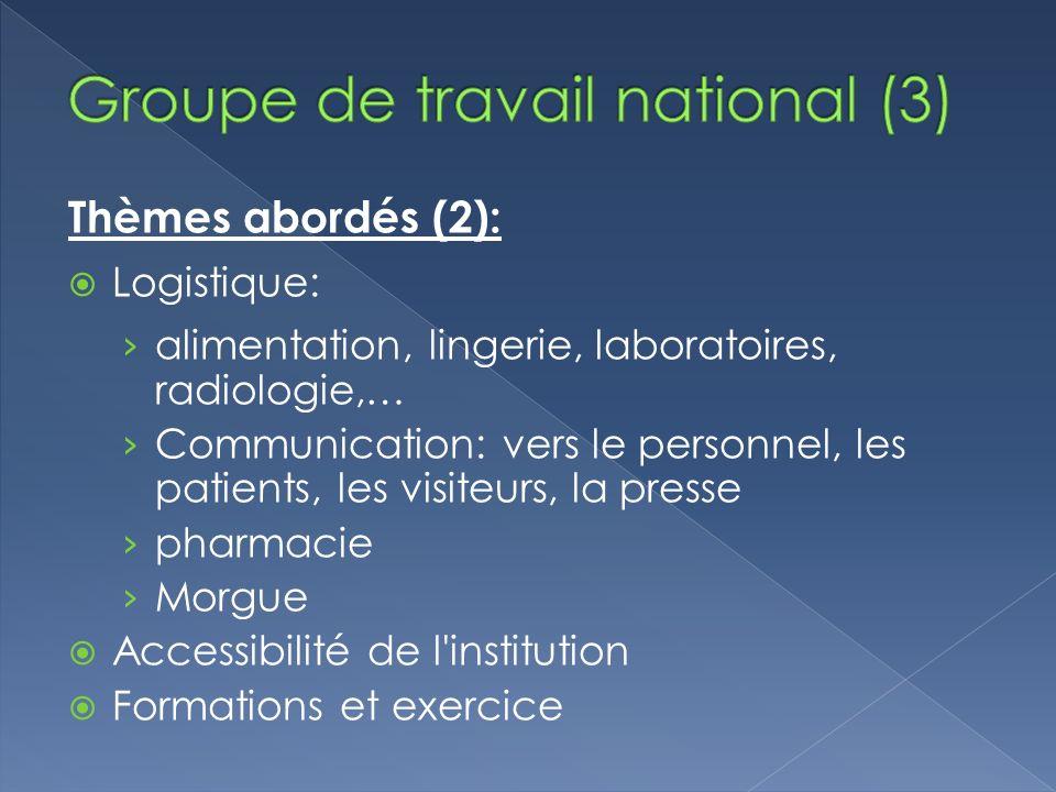 Thèmes abordés (2): Logistique: alimentation, lingerie, laboratoires, radiologie,… Communication: vers le personnel, les patients, les visiteurs, la p
