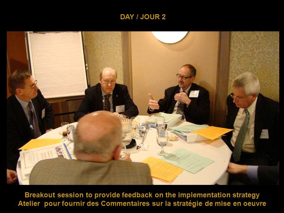 DAY / JOUR 2 Breakout session to provide feedback on the implementation strategy Atelier pour fournir des Commentaires sur la stratégie de mise en oeuvre