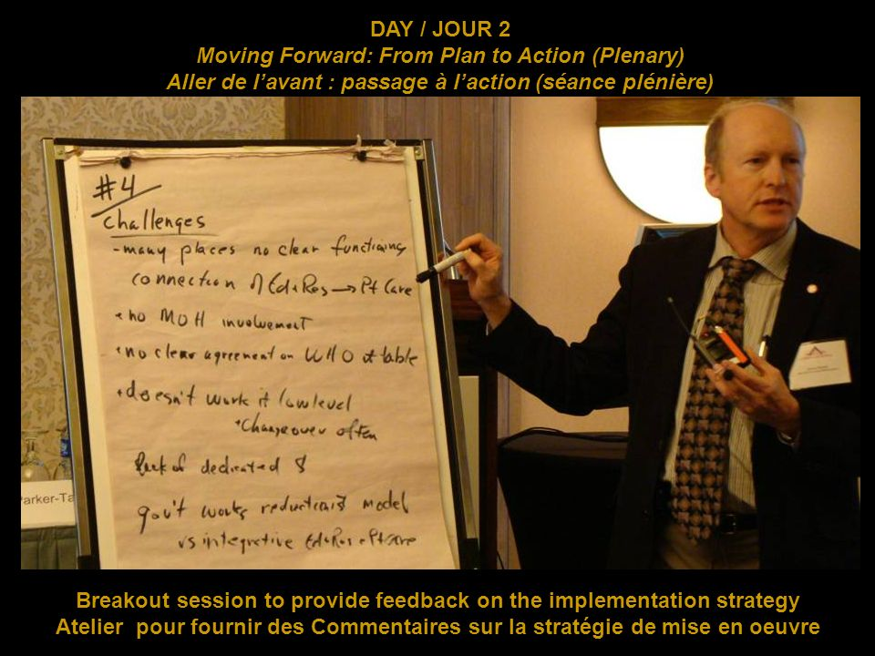 Breakout session to provide feedback on the implementation strategy Atelier pour fournir des Commentaires sur la stratégie de mise en oeuvre DAY / JOUR 2 Moving Forward: From Plan to Action (Plenary) Aller de lavant : passage à laction (séance plénière)