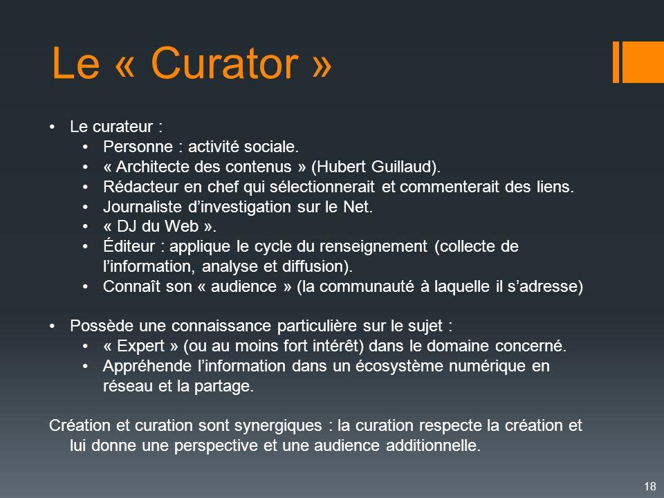 18 Le curateur : Personne : activité sociale. « Architecte des contenus » (Hubert Guillaud). Rédacteur en chef qui sélectionnerait et commenterait des
