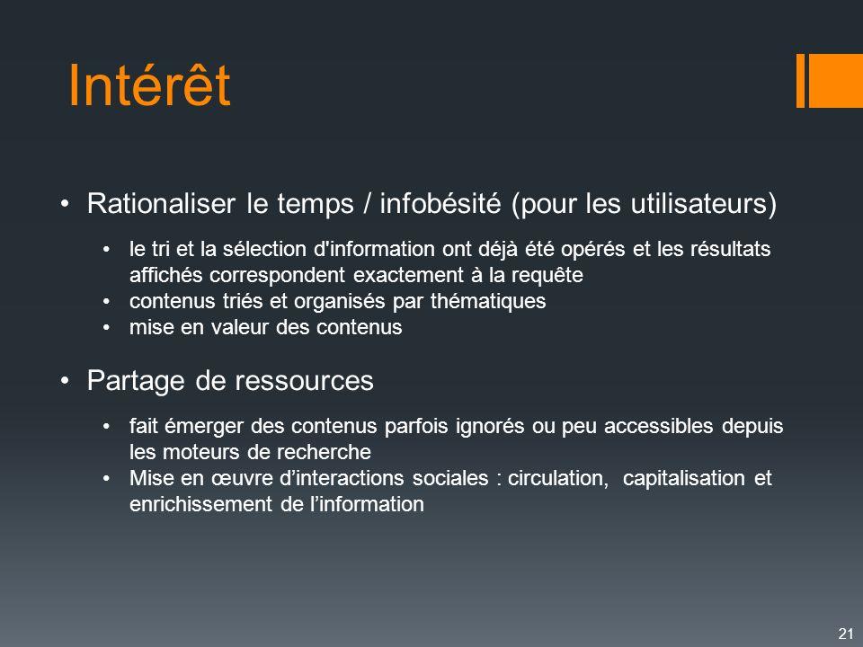 Intérêt 21 Rationaliser le temps / infobésité (pour les utilisateurs) le tri et la sélection d'information ont déjà été opérés et les résultats affich