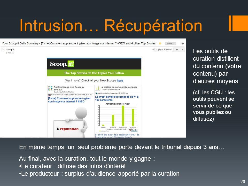 29 Intrusion… Récupération Les outils de curation distillent du contenu (votre contenu) par dautres moyens. (cf. les CGU : les outils peuvent se servi