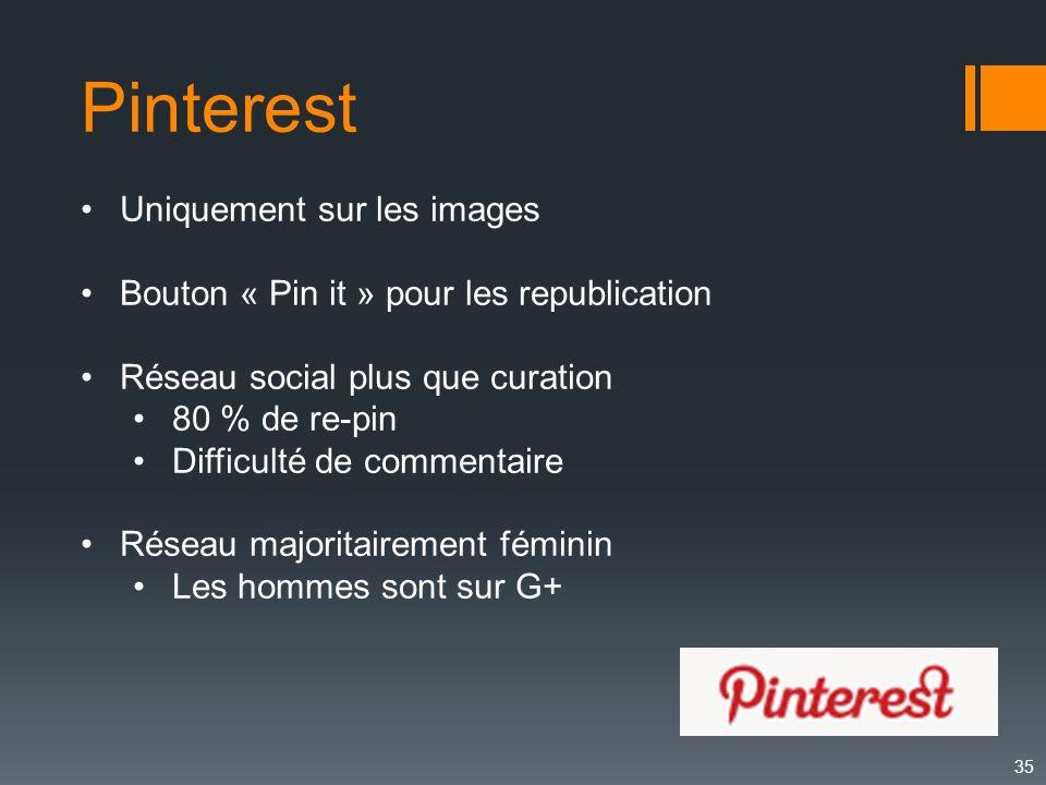 35 Pinterest Uniquement sur les images Bouton « Pin it » pour les republication Réseau social plus que curation 80 % de re-pin Difficulté de commentai