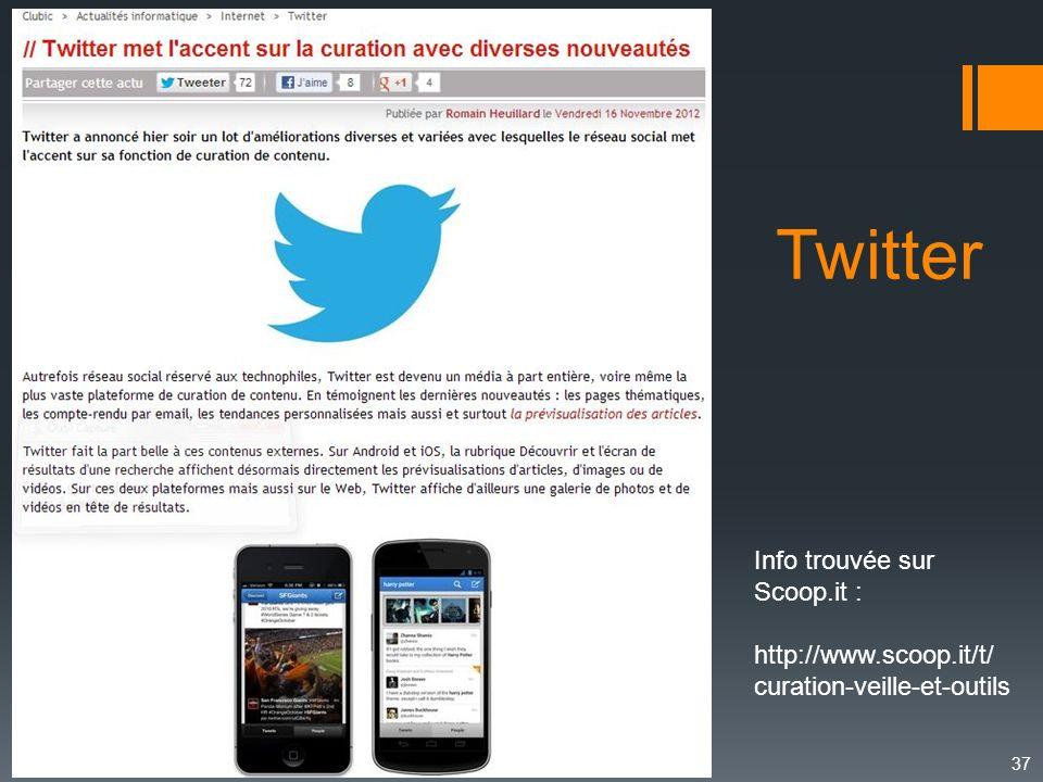 37 Info trouvée sur Scoop.it : http://www.scoop.it/t/ curation-veille-et-outils Twitter