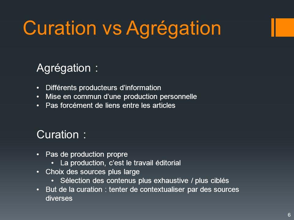 6 Curation vs Agrégation Agrégation : Différents producteurs dinformation Mise en commun dune production personnelle Pas forcément de liens entre les
