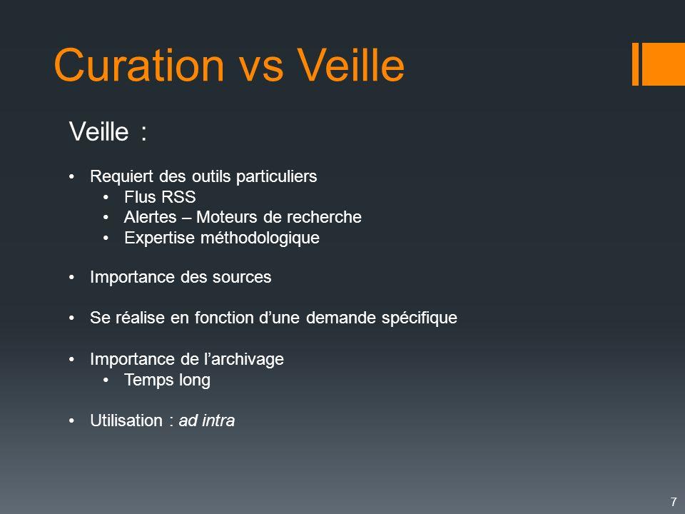7 Curation vs Veille Veille : Requiert des outils particuliers Flus RSS Alertes – Moteurs de recherche Expertise méthodologique Importance des sources
