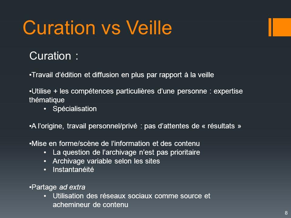 8 Curation vs Veille Curation : Travail dédition et diffusion en plus par rapport à la veille Utilise + les compétences particulières dune personne :