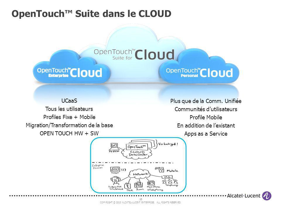 15 COPYRIGHT © 2013 ALCATEL-LUCENT ENTERPRISE. ALL RIGHTS RESERVED. 15 OpenTouch Suite dans le CLOUD UCaaS Tous les utilisateurs Profiles Fixe + Mobil