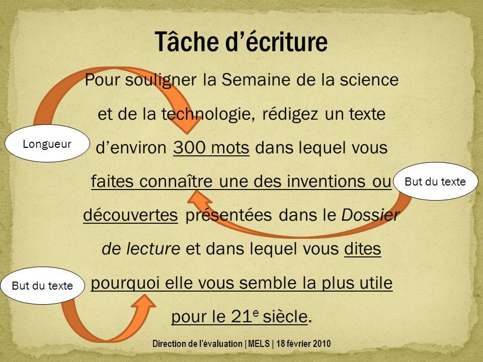 Tâche décriture Pour souligner la Semaine de la science et de la technologie, rédigez un texte denviron 300 mots dans lequel vous faites connaître une des inventions ou découvertes présentées dans le Dossier de lecture et dans lequel vous dites pourquoi elle vous semble la plus utile pour le 21 e siècle.