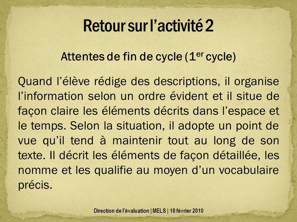 Attentes de fin de cycle (1 er cycle) Quand lélève rédige des descriptions, il organise linformation selon un ordre évident et il situe de façon clair