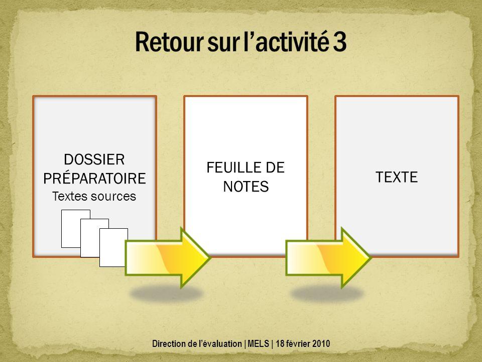 DOSSIER PRÉPARATOIRE Textes sources FEUILLE DE NOTES TEXTE Direction de lévaluation | MELS | 18 février 2010