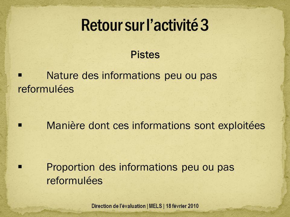 Pistes Nature des informations peu ou pas reformulées Manière dont ces informations sont exploitées Proportion des informations peu ou pas reformulées
