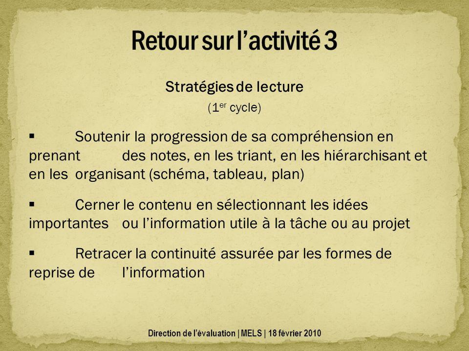 Stratégies de lecture (1 er cycle) Soutenir la progression de sa compréhension en prenant des notes, en les triant, en les hiérarchisant et en les org