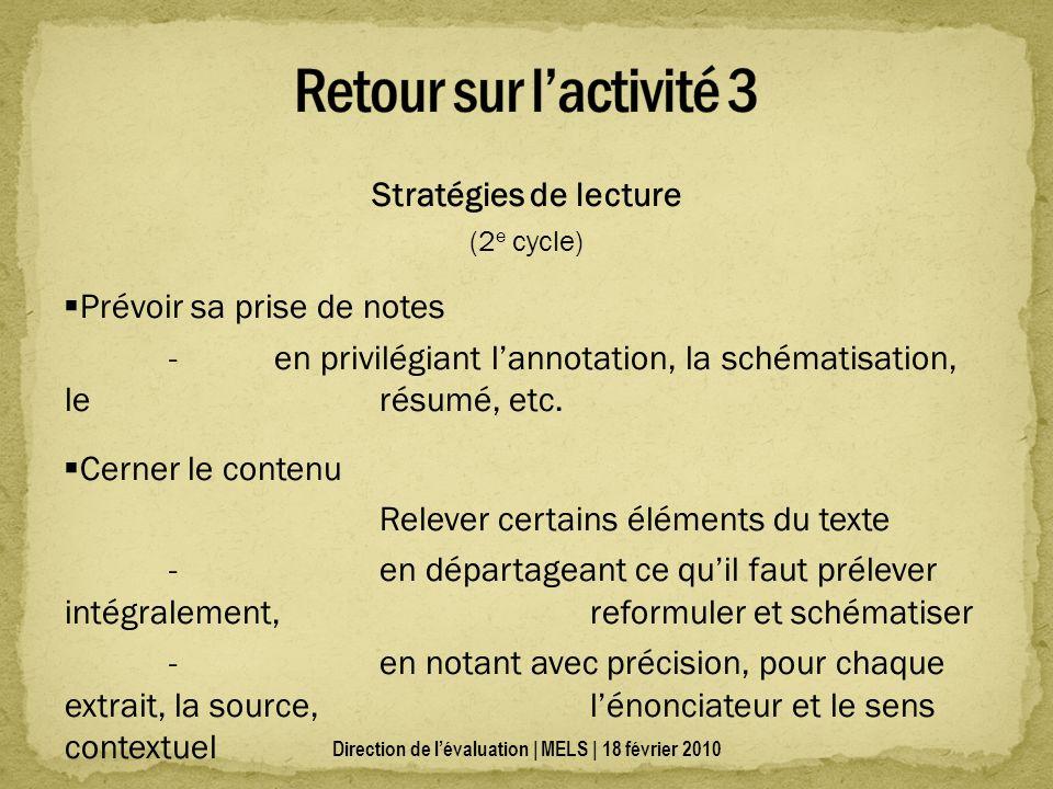 Stratégies de lecture (2 e cycle) Prévoir sa prise de notes - en privilégiant lannotation, la schématisation, le résumé, etc.