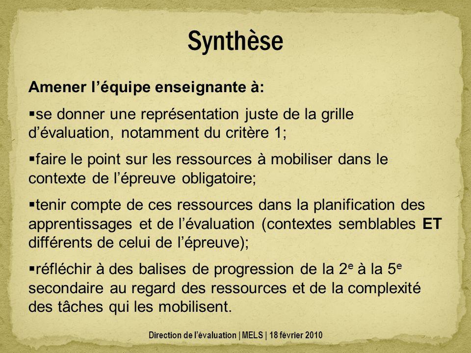 Synthèse Direction de lévaluation | MELS | 18 février 2010 Amener léquipe enseignante à: se donner une représentation juste de la grille dévaluation,