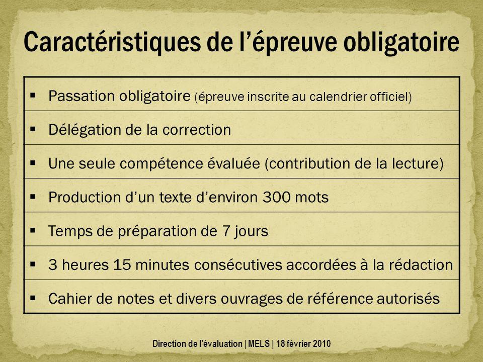 Caractéristiques de lépreuve obligatoire Passation obligatoire (épreuve inscrite au calendrier officiel) Délégation de la correction Une seule compéte